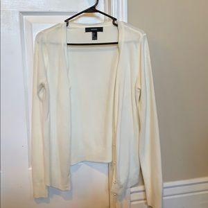 White button down sweater.